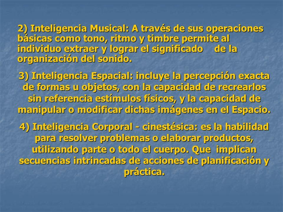 2) Inteligencia Musical: A través de sus operaciones básicas como tono, ritmo y timbre permite al individuo extraer y lograr el significado de la organización del sonido.