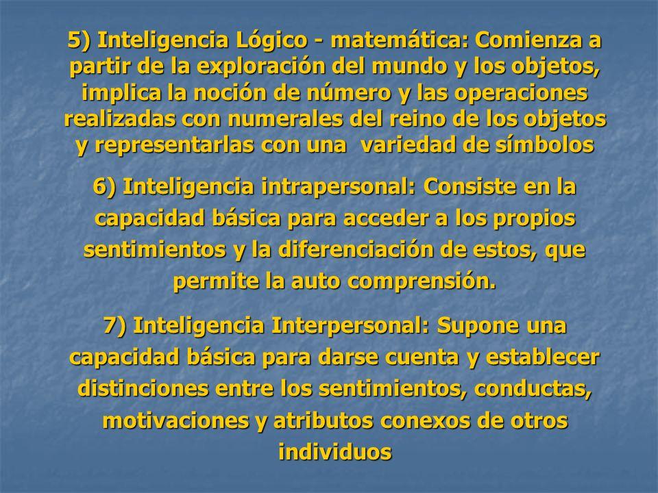 5) Inteligencia Lógico - matemática: Comienza a partir de la exploración del mundo y los objetos, implica la noción de número y las operaciones realizadas con numerales del reino de los objetos y representarlas con una variedad de símbolos