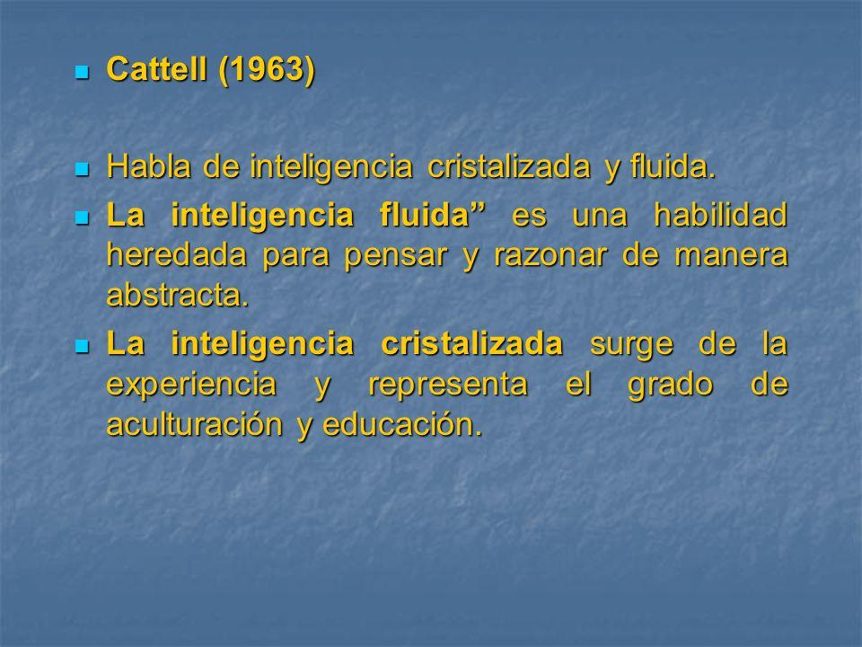 Cattell (1963) Habla de inteligencia cristalizada y fluida.