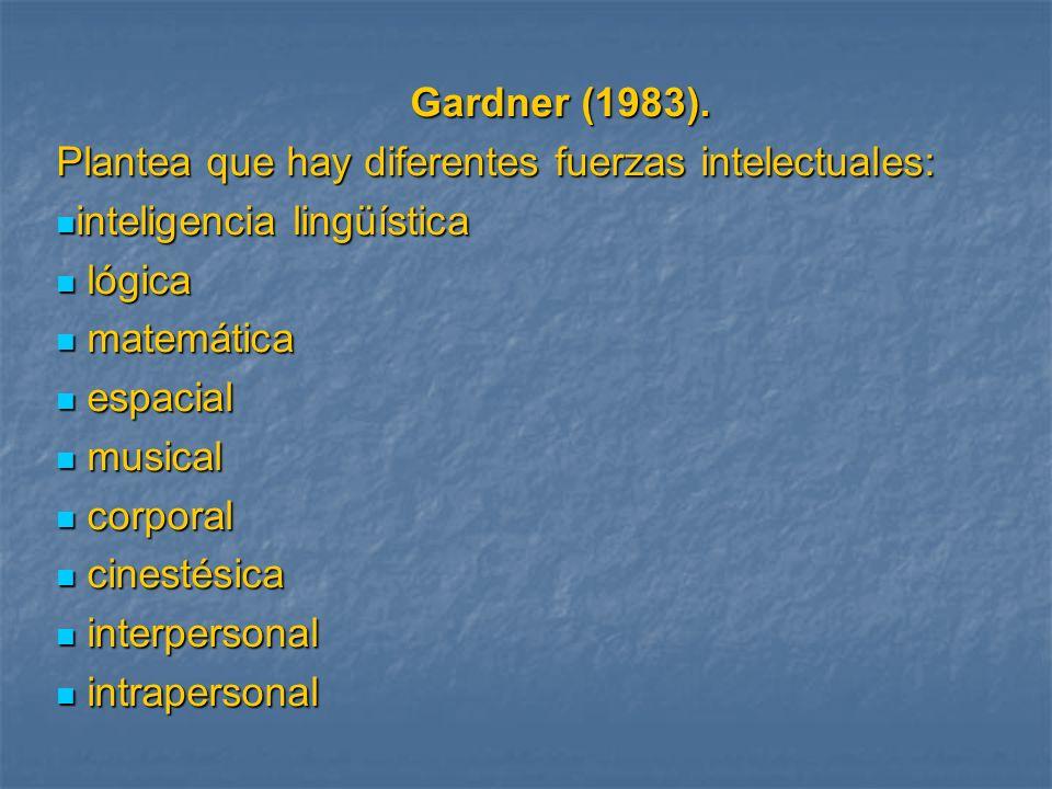 Gardner (1983). Plantea que hay diferentes fuerzas intelectuales: inteligencia lingüística. lógica.