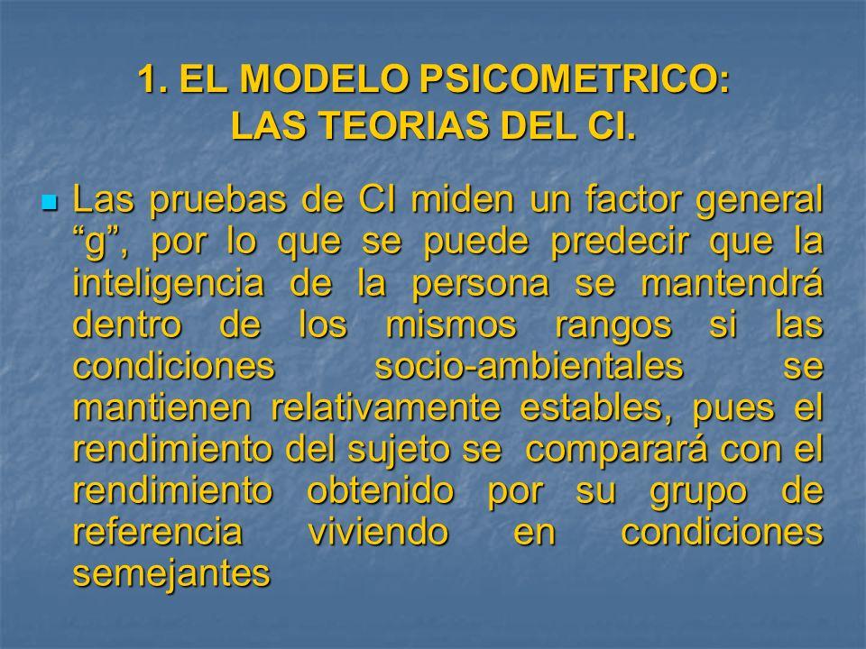 1. EL MODELO PSICOMETRICO: LAS TEORIAS DEL CI.