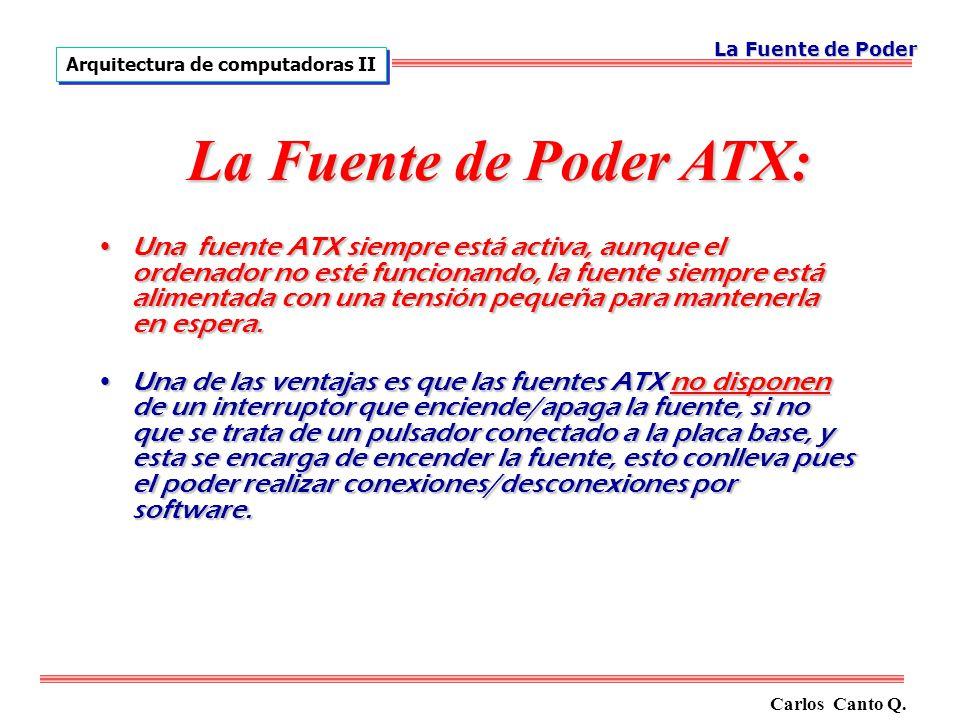 La Fuente de Poder Arquitectura de computadoras II. La Fuente de Poder ATX: