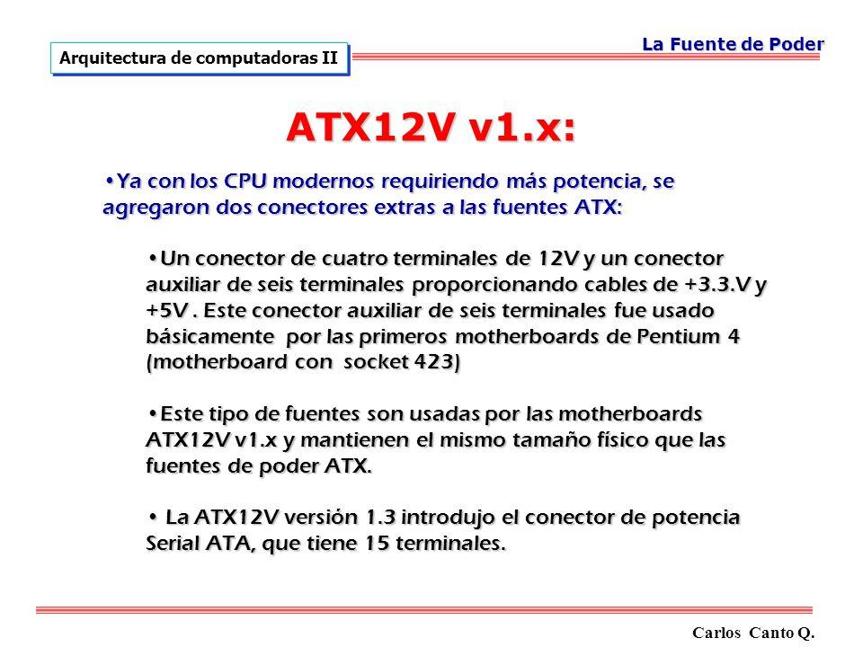La Fuente de Poder Arquitectura de computadoras II. ATX12V v1.x:
