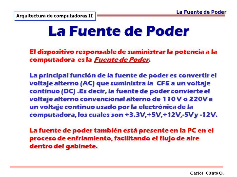 La Fuente de Poder Arquitectura de computadoras II. La Fuente de Poder.
