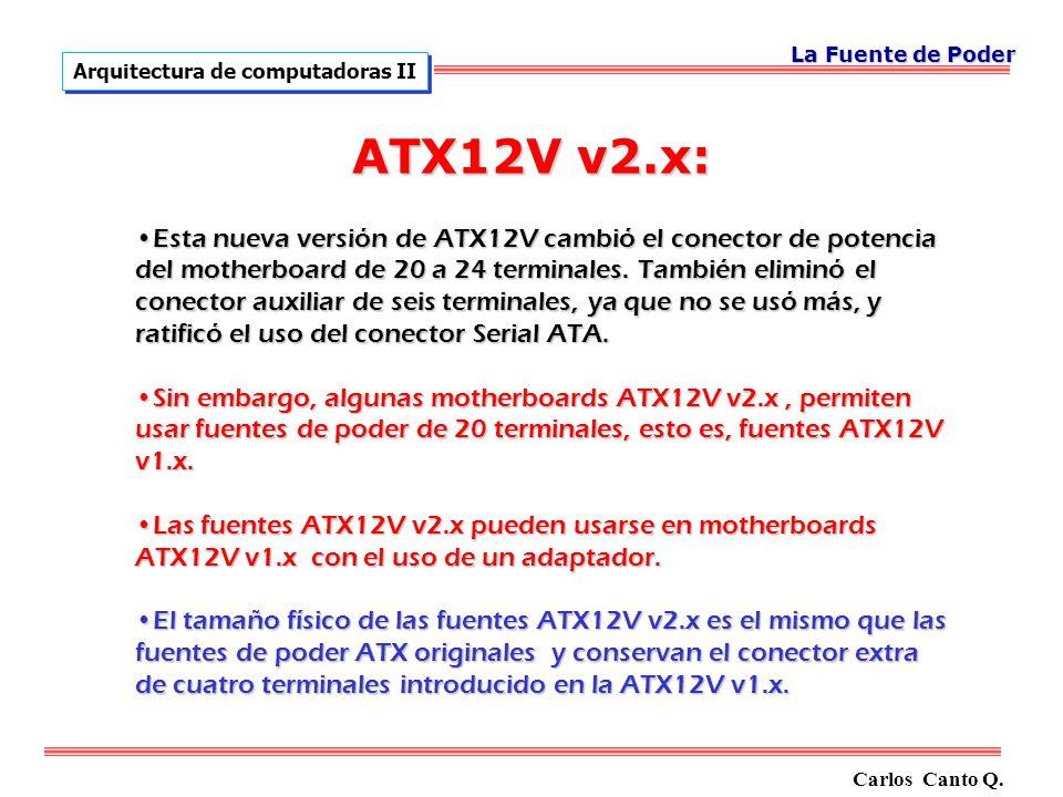 La Fuente de Poder Arquitectura de computadoras II. ATX12V v2.x: