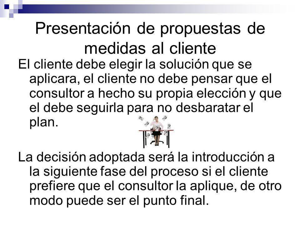 Presentación de propuestas de medidas al cliente