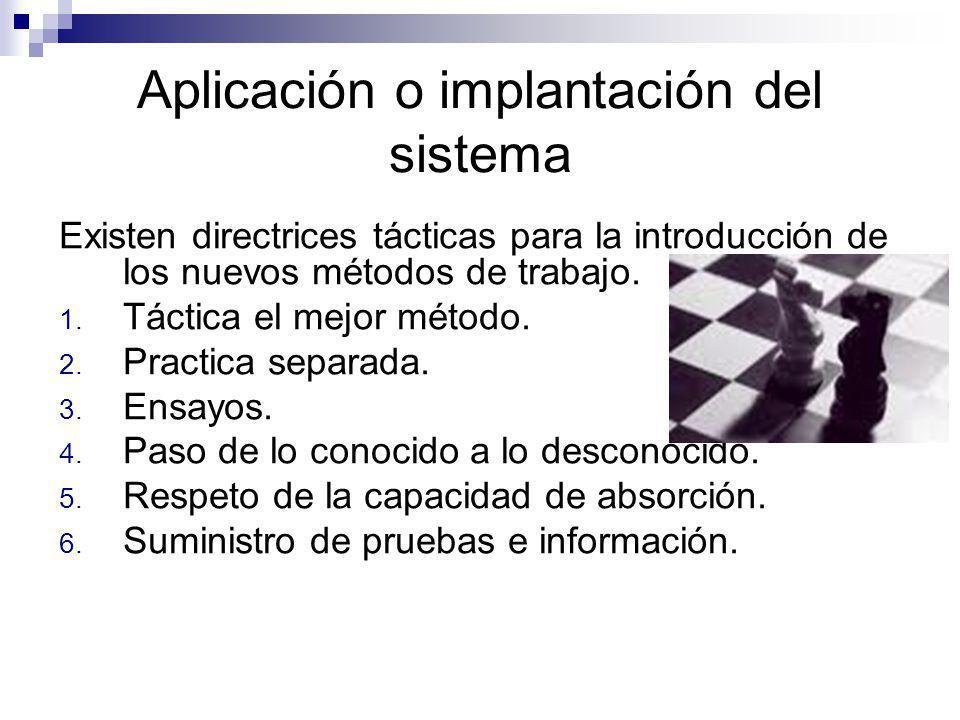 Aplicación o implantación del sistema