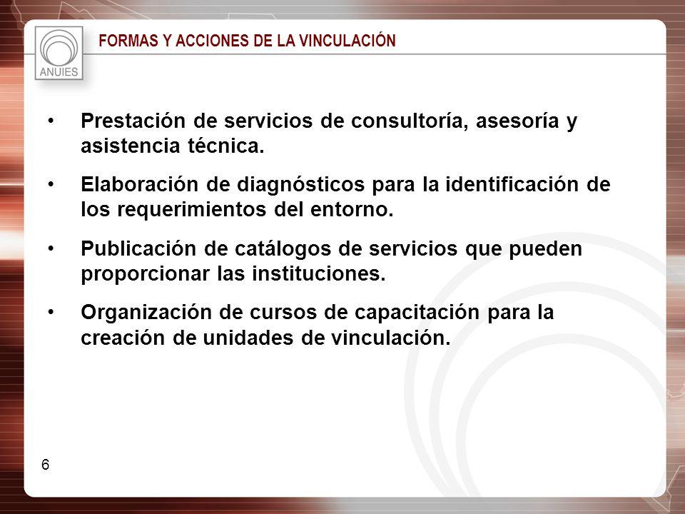 Prestación de servicios de consultoría, asesoría y asistencia técnica.