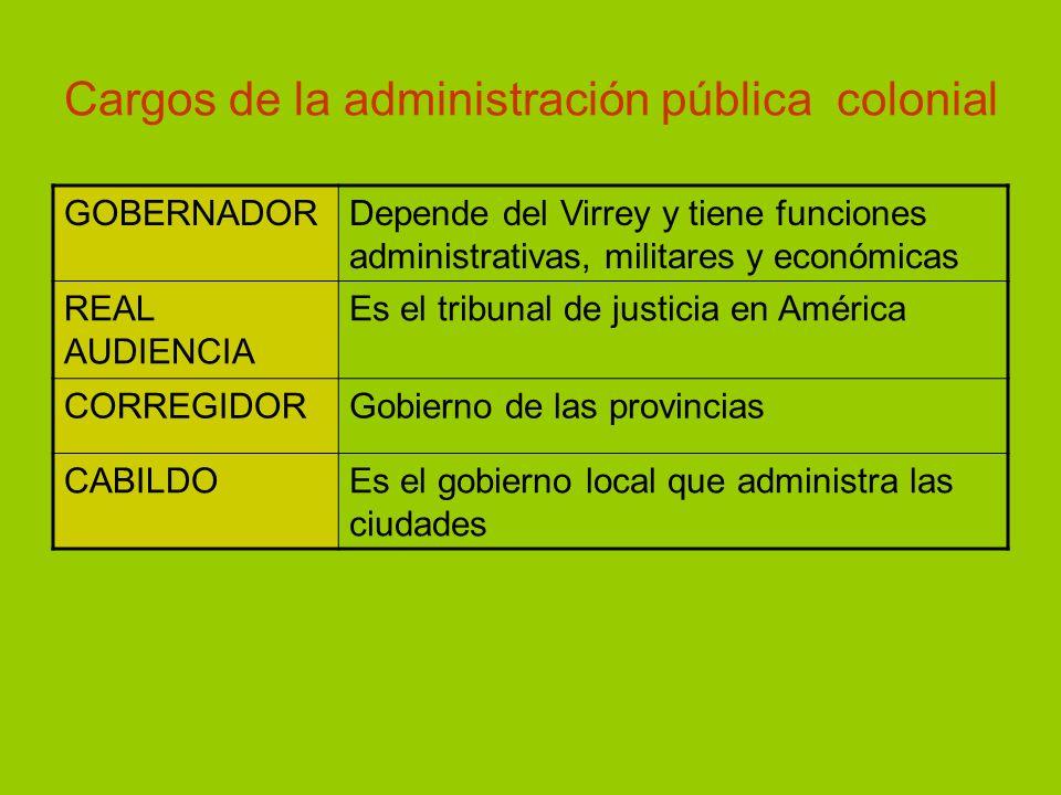 Cargos de la administración pública colonial