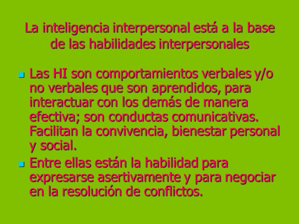 La inteligencia interpersonal está a la base de las habilidades interpersonales