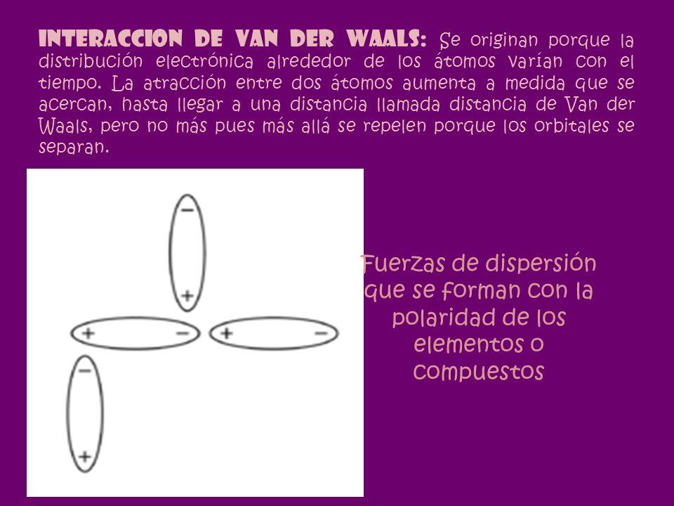 INTERACCION DE VAN DER WAALS: Se originan porque la distribución electrónica alrededor de los átomos varían con el tiempo. La atracción entre dos átomos aumenta a medida que se acercan, hasta llegar a una distancia llamada distancia de Van der Waals, pero no más pues más allá se repelen porque los orbitales se separan.