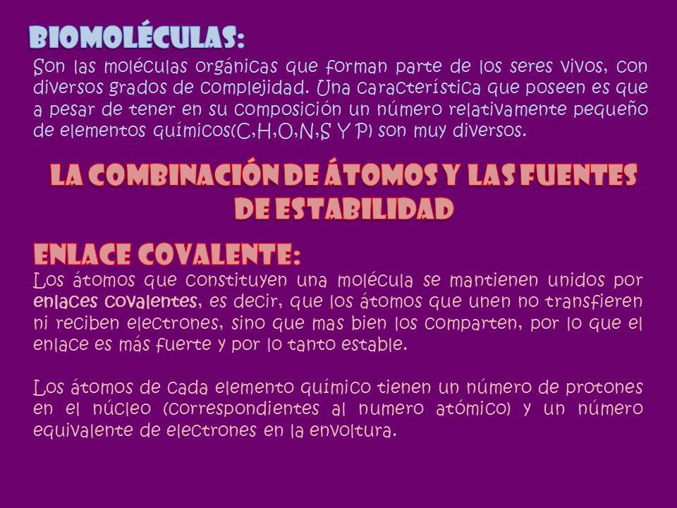 LA COMBINACIÓN DE ÁTOMOS Y LAS FUENTES DE ESTABILIDAD