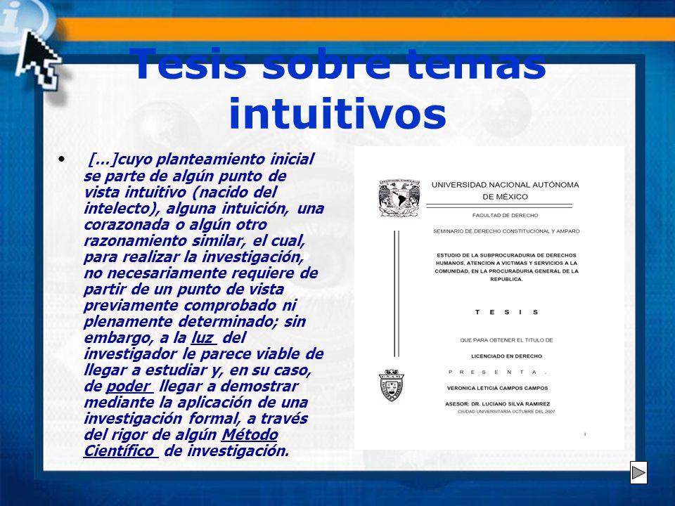 Tesis sobre temas intuitivos