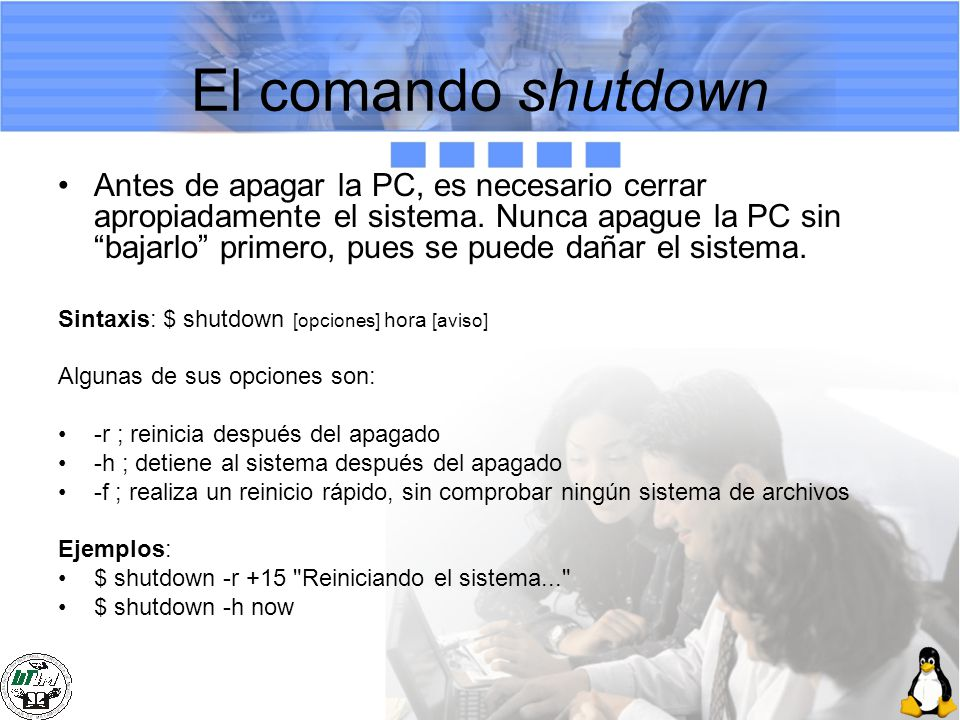 El comando shutdown