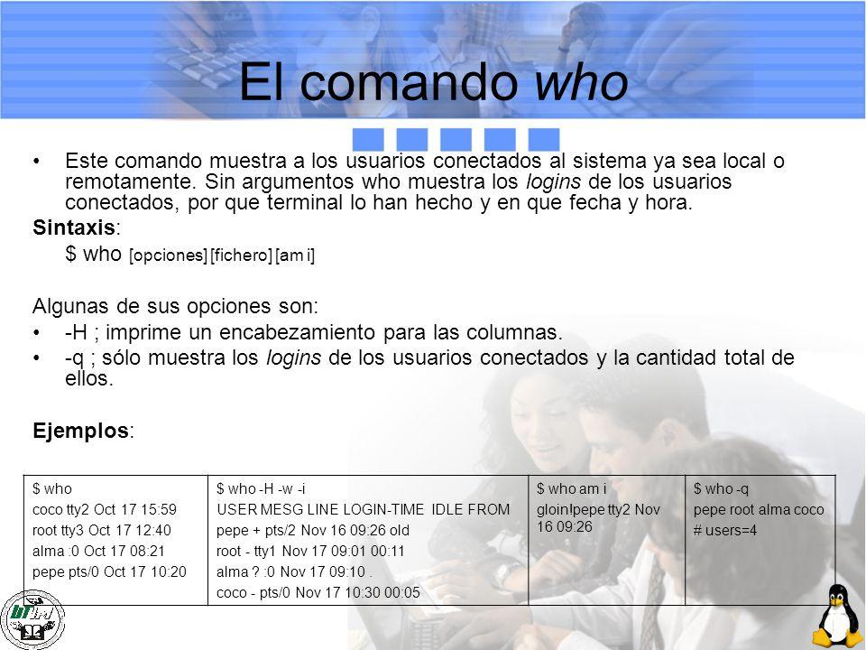 El comando who