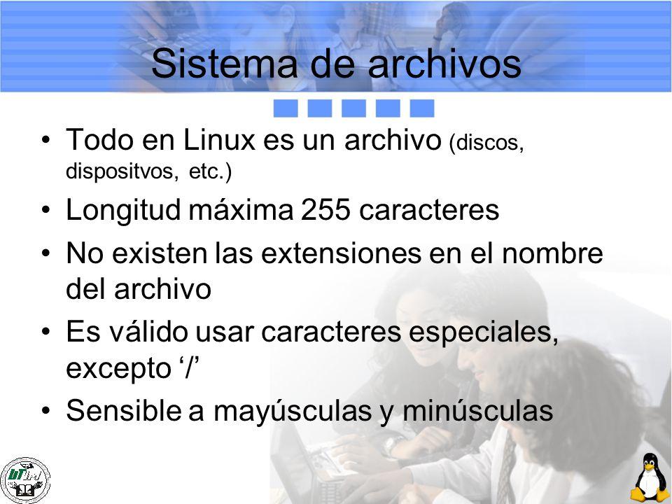Sistema de archivos Todo en Linux es un archivo (discos, dispositvos, etc.) Longitud máxima 255 caracteres.