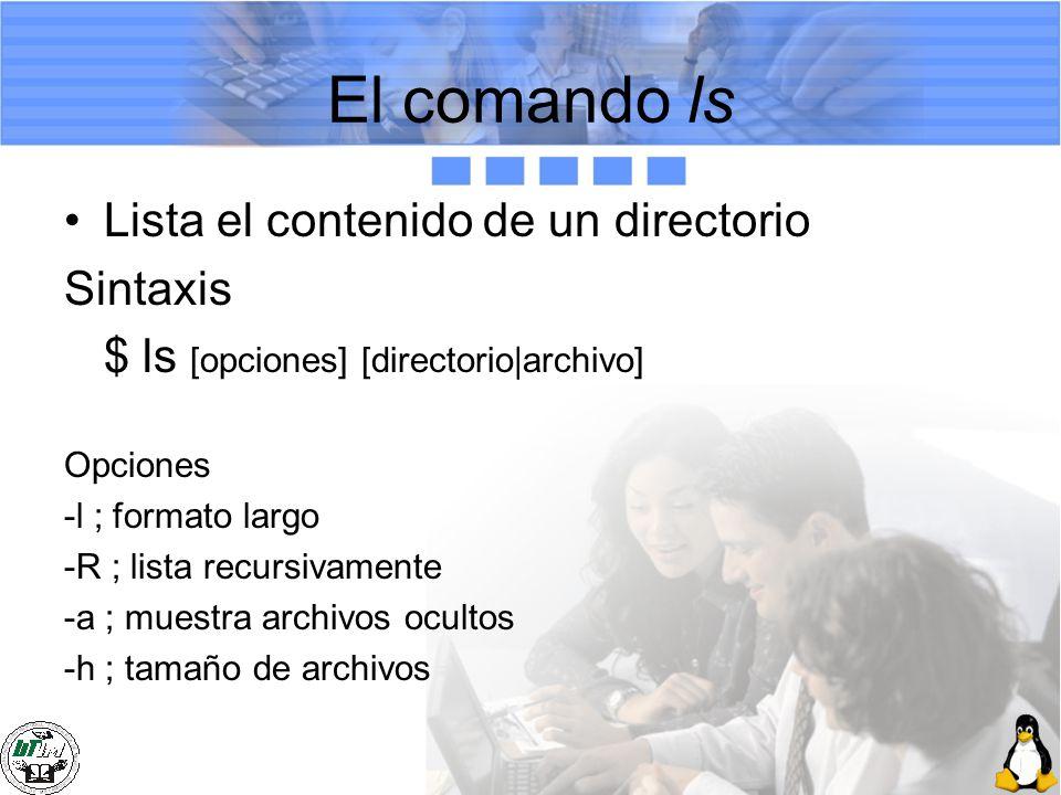 El comando ls Lista el contenido de un directorio Sintaxis
