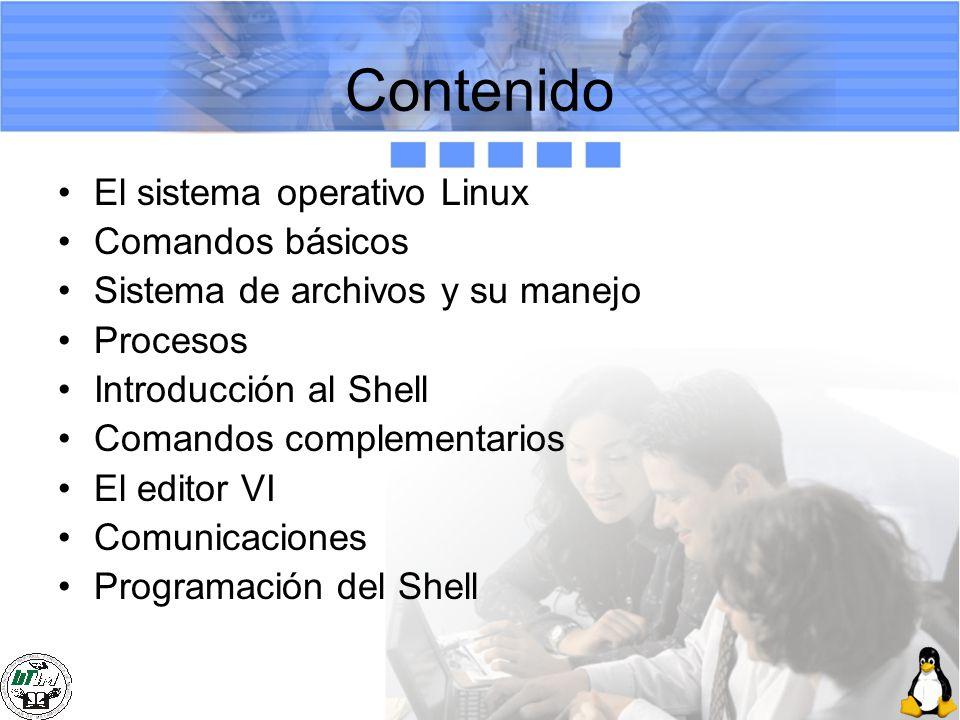 Contenido El sistema operativo Linux Comandos básicos