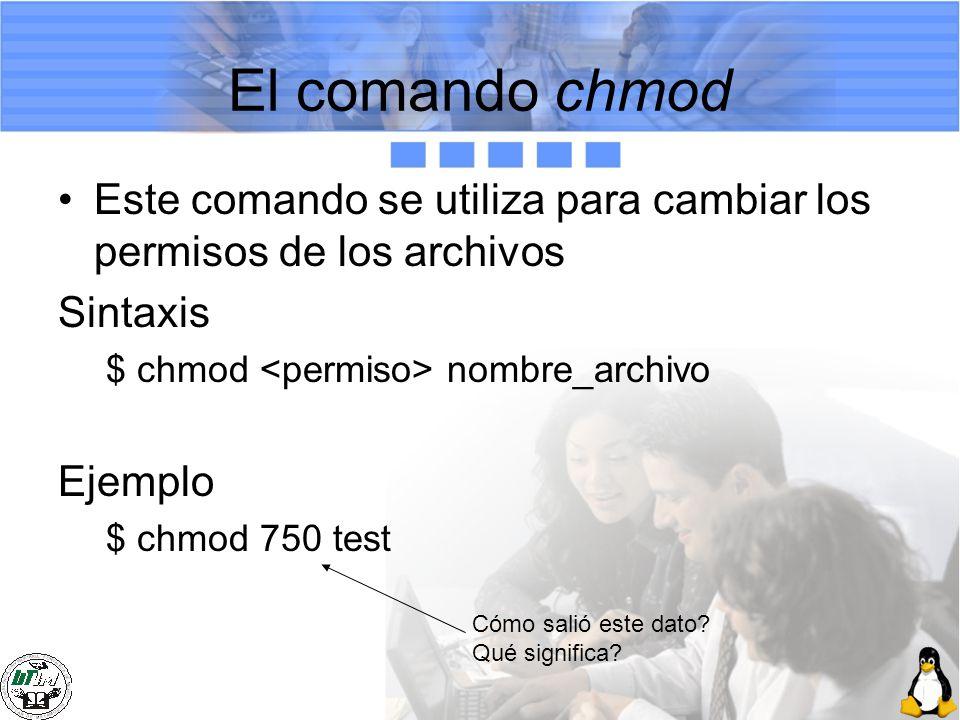 El comando chmod Este comando se utiliza para cambiar los permisos de los archivos. Sintaxis. $ chmod <permiso> nombre_archivo.