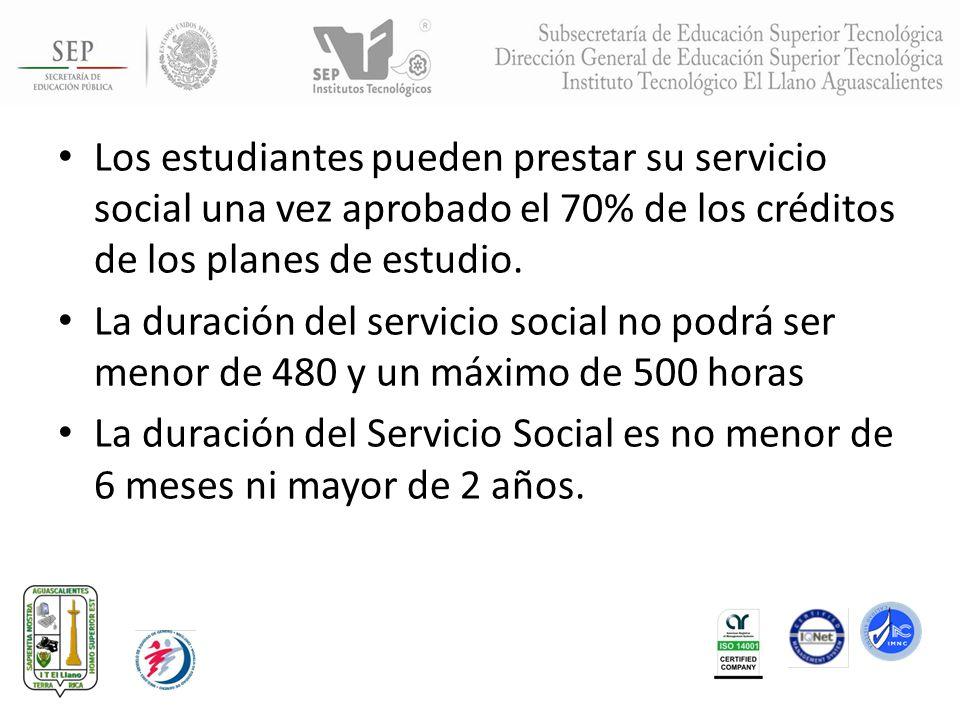 Los estudiantes pueden prestar su servicio social una vez aprobado el 70% de los créditos de los planes de estudio.