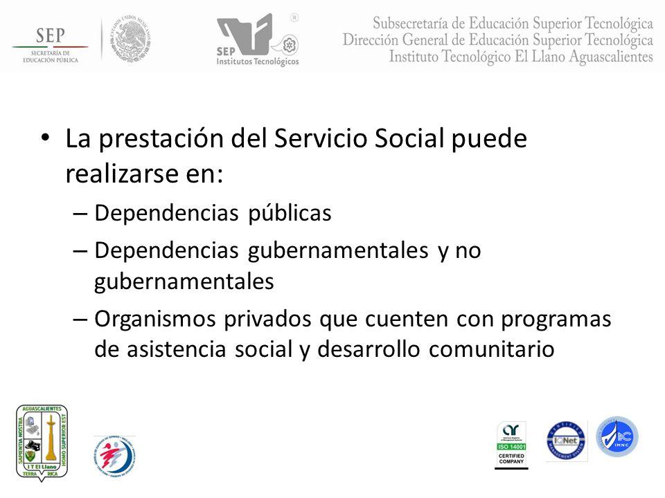 La prestación del Servicio Social puede realizarse en: