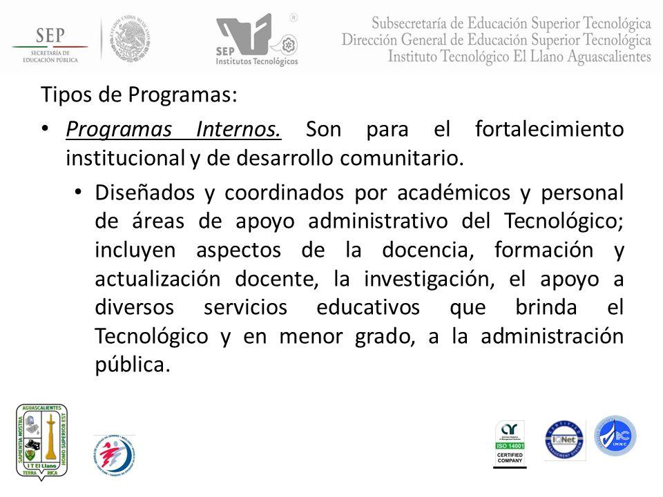 Tipos de Programas: Programas Internos. Son para el fortalecimiento institucional y de desarrollo comunitario.