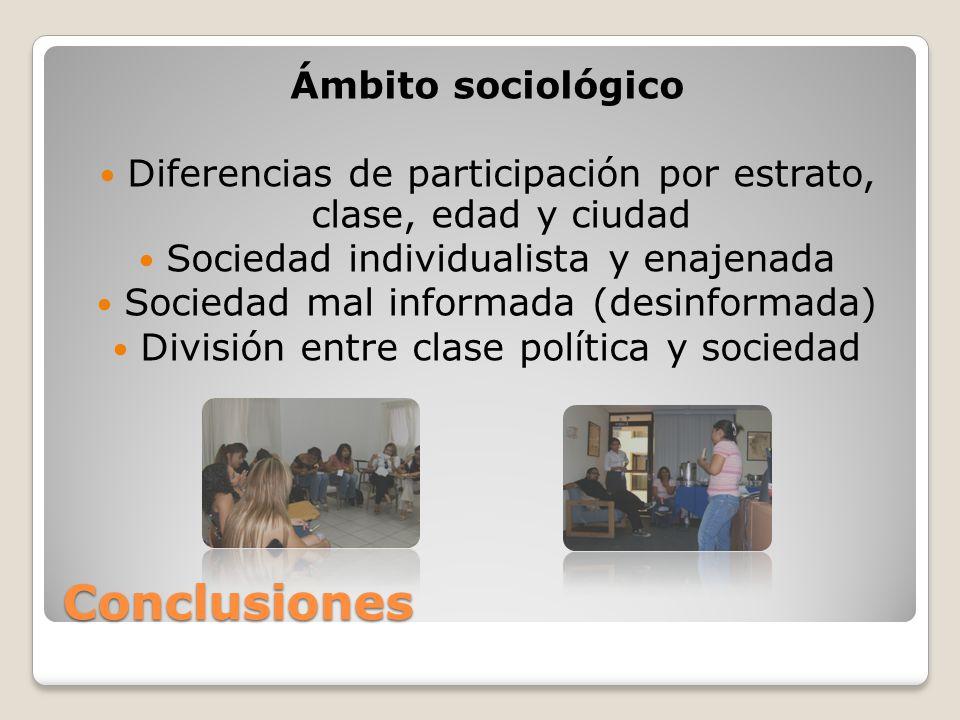 Conclusiones Ámbito sociológico