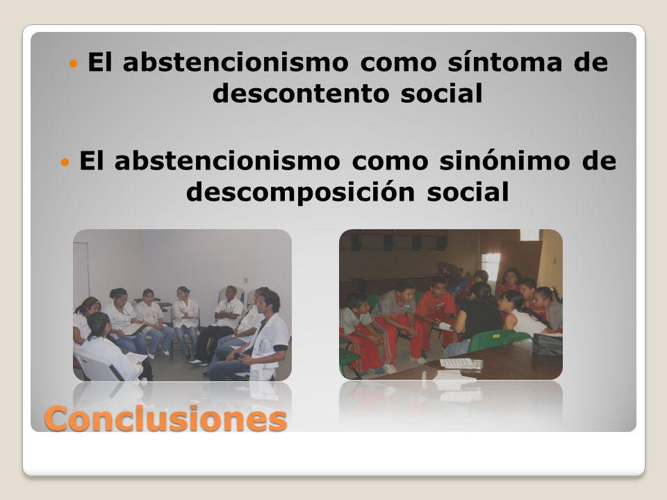 Conclusiones El abstencionismo como síntoma de descontento social