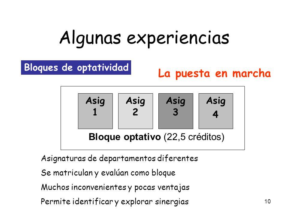 Algunas experiencias La puesta en marcha Bloques de optatividad Asig 1