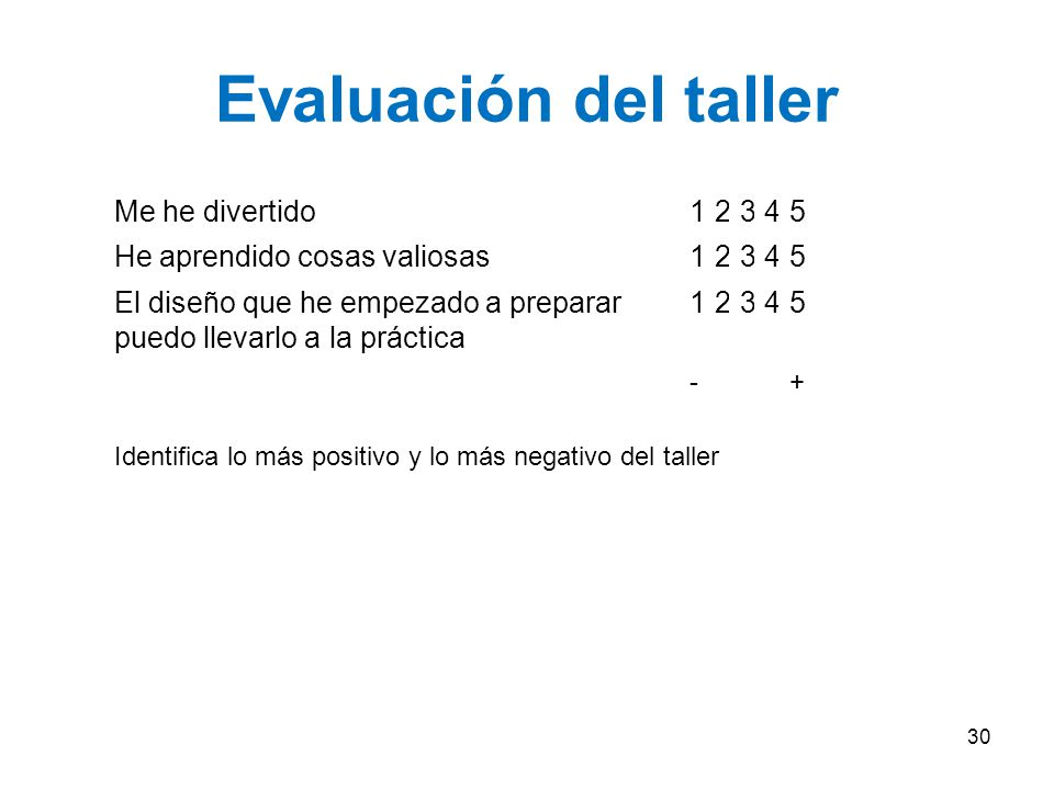 Evaluación del taller Me he divertido 1 2 3 4 5
