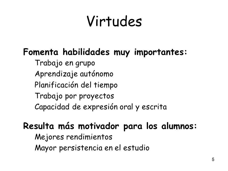 Virtudes Fomenta habilidades muy importantes: