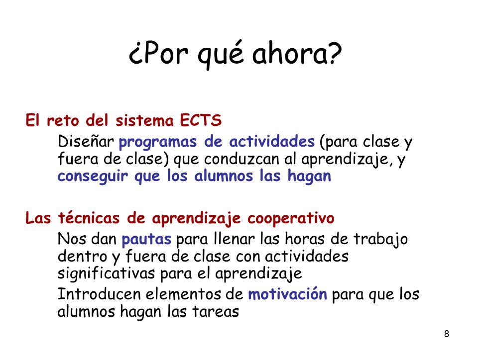 ¿Por qué ahora El reto del sistema ECTS