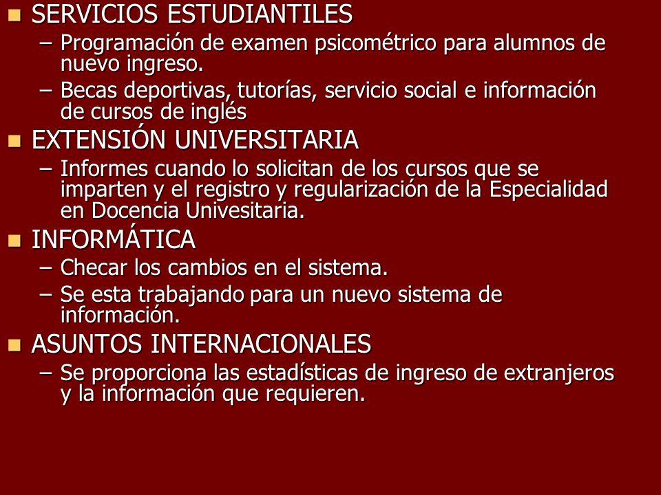SERVICIOS ESTUDIANTILES