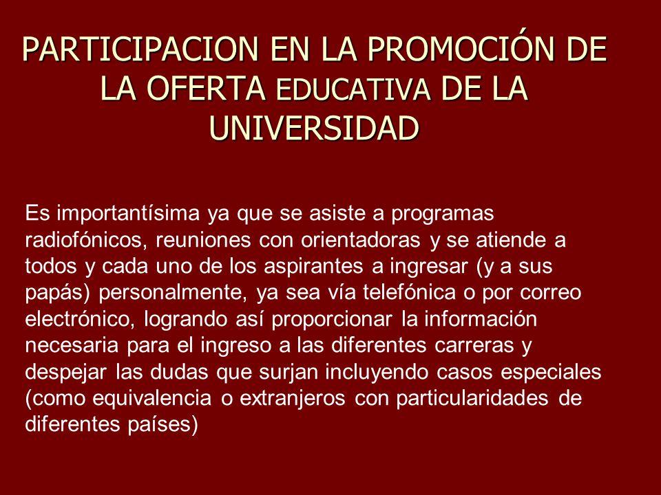 PARTICIPACION EN LA PROMOCIÓN DE LA OFERTA EDUCATIVA DE LA UNIVERSIDAD