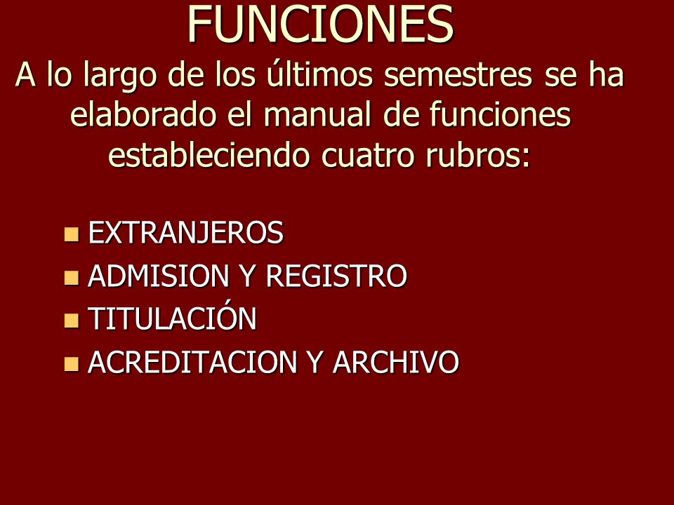 FUNCIONES A lo largo de los últimos semestres se ha elaborado el manual de funciones estableciendo cuatro rubros: