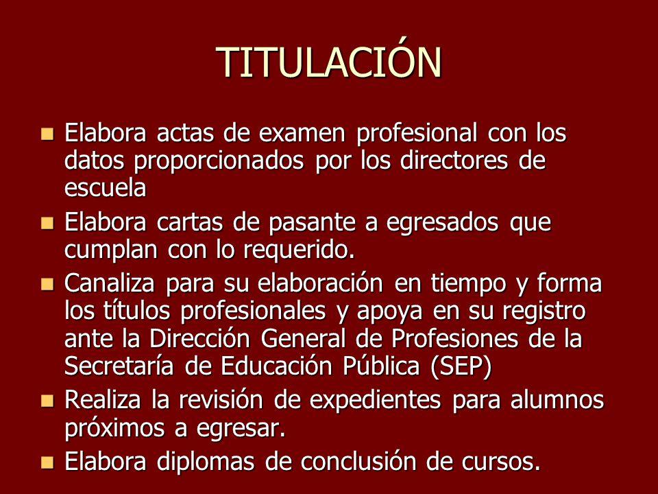 TITULACIÓN Elabora actas de examen profesional con los datos proporcionados por los directores de escuela.