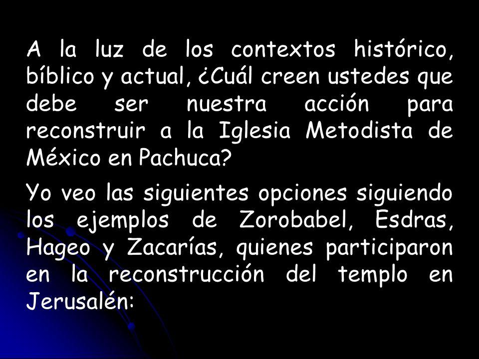 A la luz de los contextos histórico, bíblico y actual, ¿Cuál creen ustedes que debe ser nuestra acción para reconstruir a la Iglesia Metodista de México en Pachuca