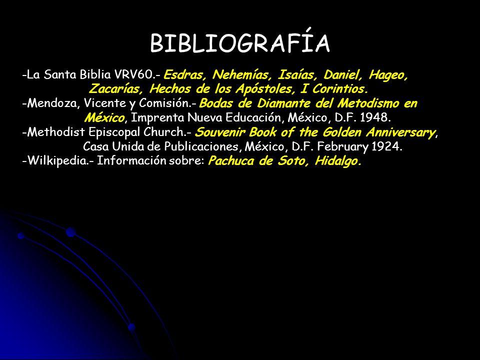 BIBLIOGRAFÍA La Santa Biblia VRV60.- Esdras, Nehemías, Isaías, Daniel, Hageo, Zacarías, Hechos de los Apóstoles, I Corintios.