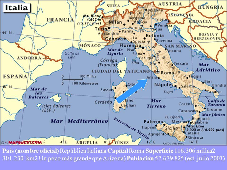 País (nombre oficial) República Italiana Capital Roma Superficie 116