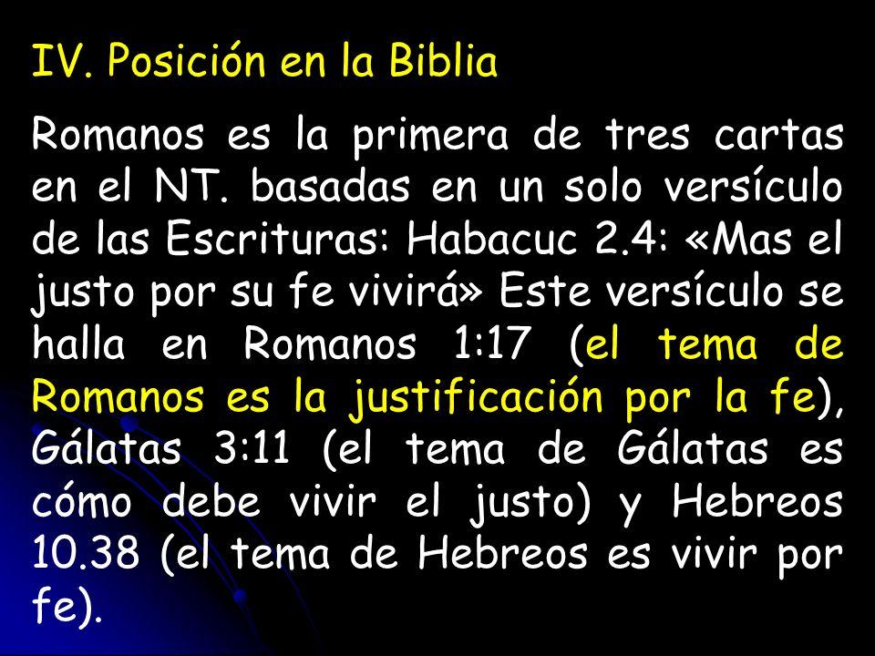 IV. Posición en la Biblia