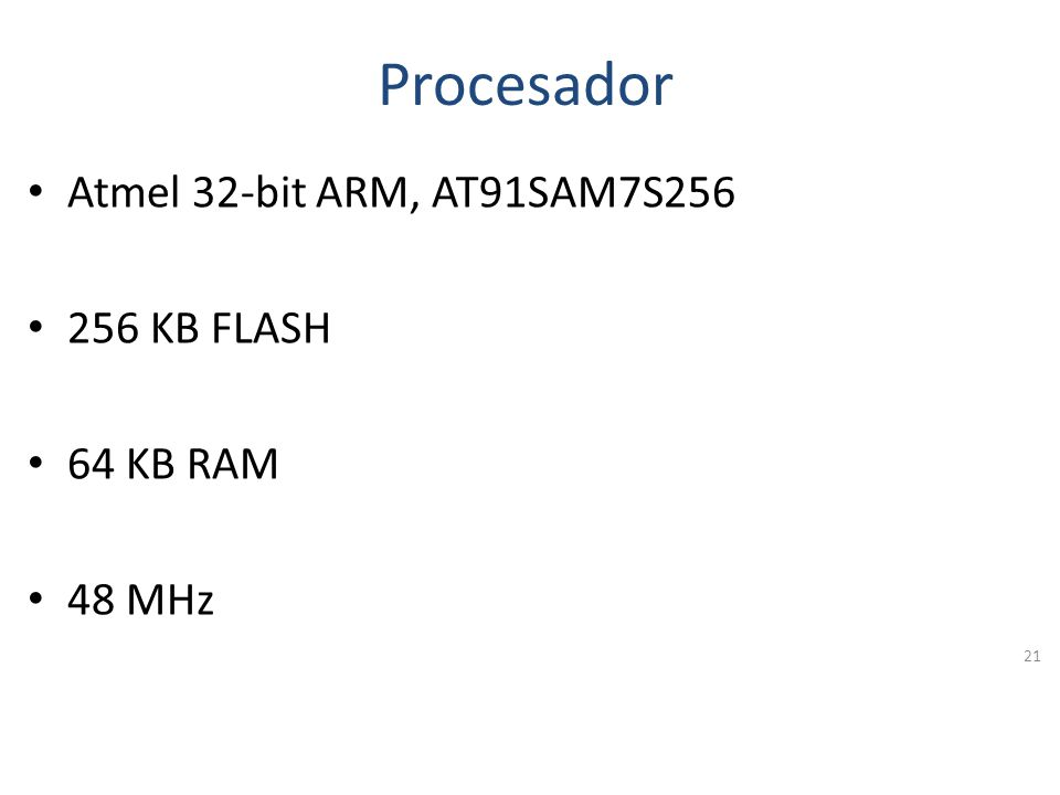 Procesador Atmel 32-bit ARM, AT91SAM7S256 256 KB FLASH 64 KB RAM