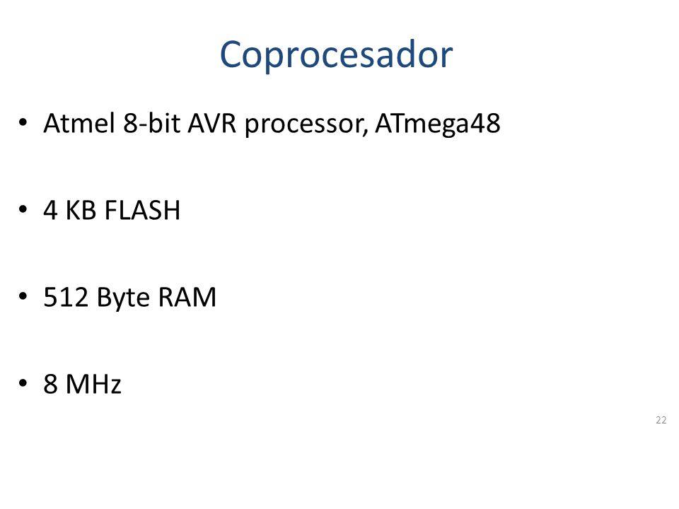 Coprocesador Atmel 8-bit AVR processor, ATmega48 4 KB FLASH