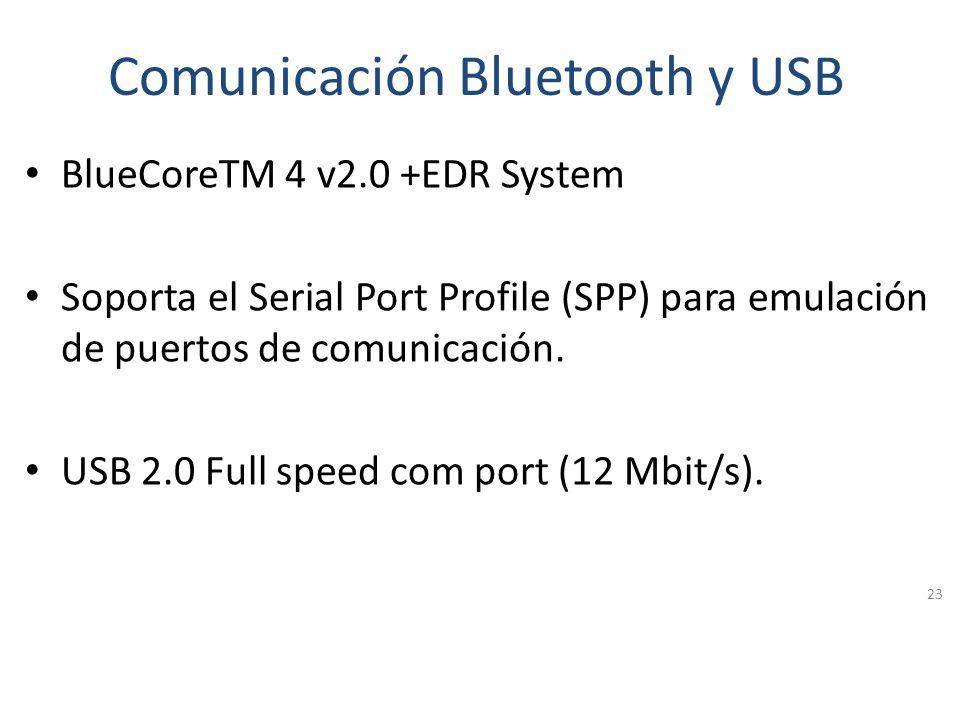 Comunicación Bluetooth y USB