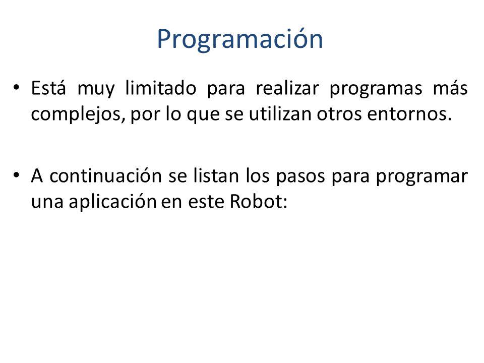Programación Está muy limitado para realizar programas más complejos, por lo que se utilizan otros entornos.