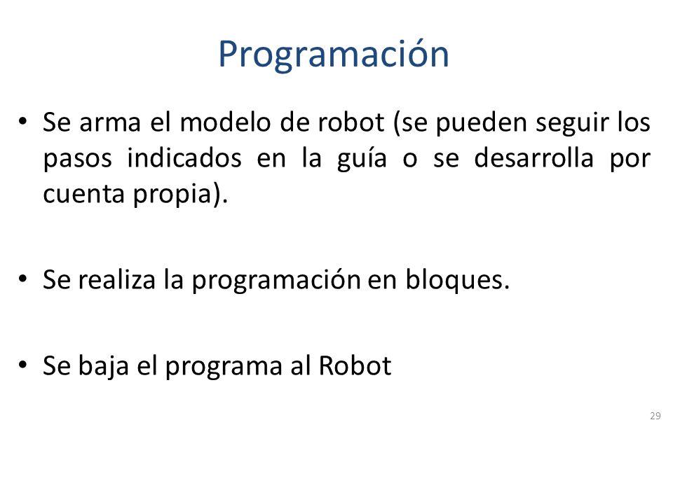 Programación Se arma el modelo de robot (se pueden seguir los pasos indicados en la guía o se desarrolla por cuenta propia).