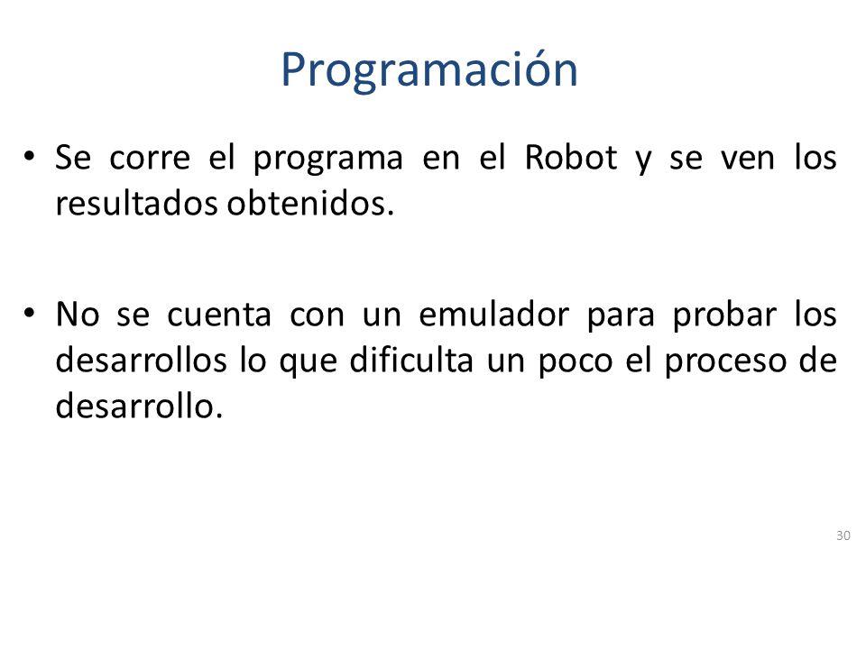 Programación Se corre el programa en el Robot y se ven los resultados obtenidos.