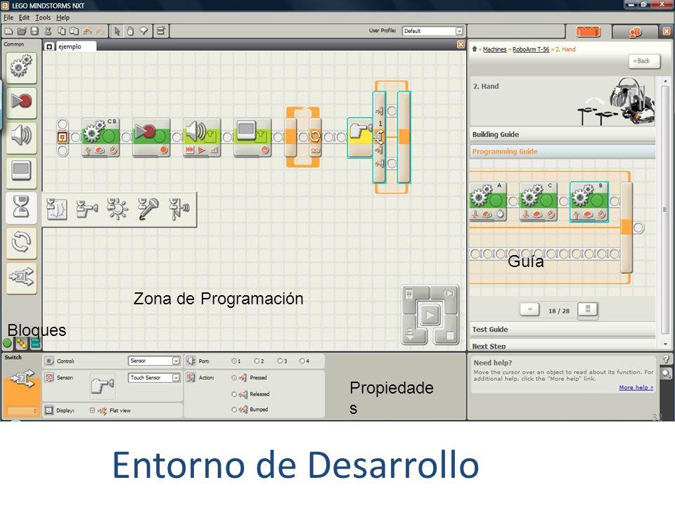 Guía Zona de Programación Bloques Propiedades Entorno de Desarrollo