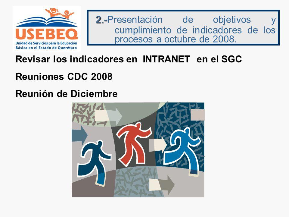 2.-Presentación de objetivos y cumplimiento de indicadores de los procesos a octubre de 2008.