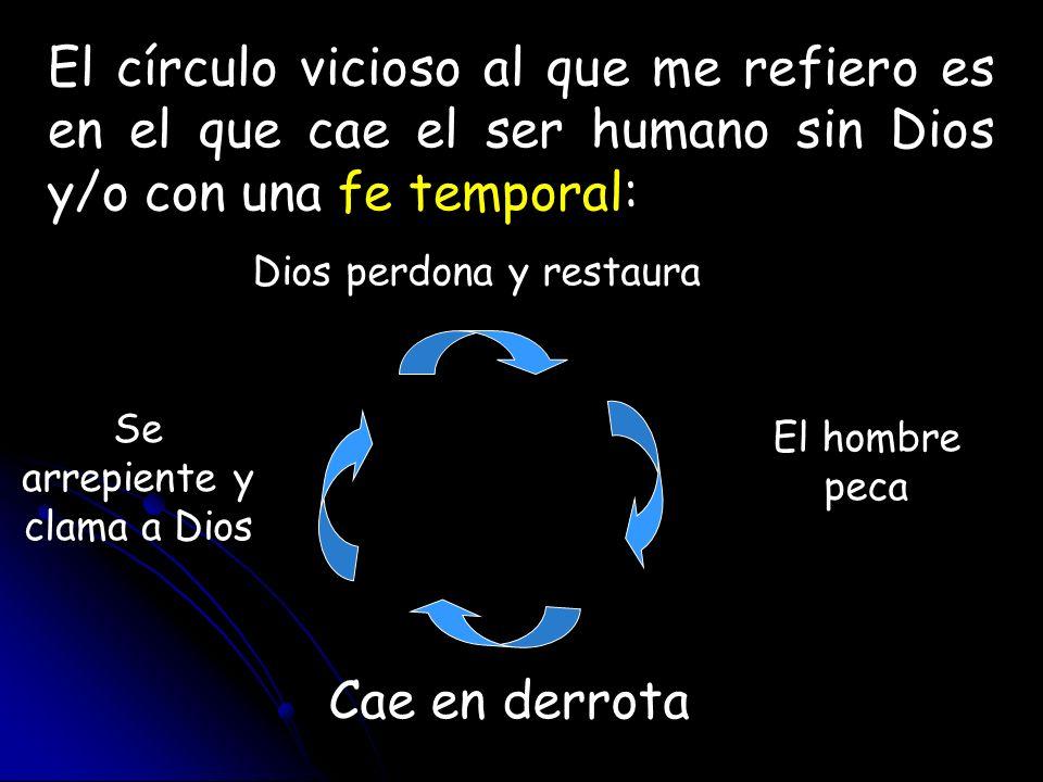 El círculo vicioso al que me refiero es en el que cae el ser humano sin Dios y/o con una fe temporal: