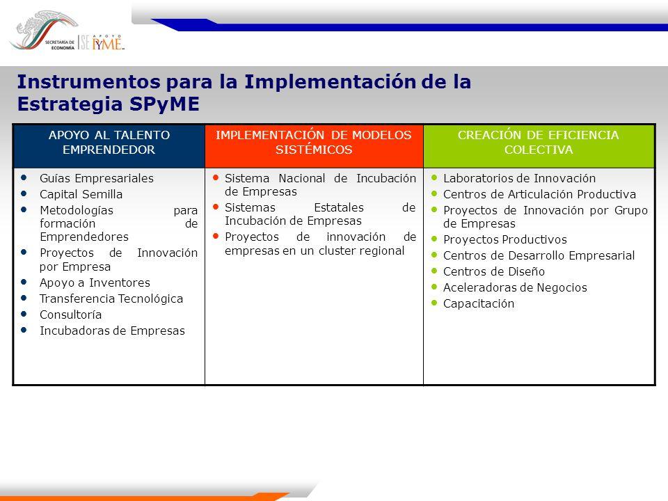 Instrumentos para la Implementación de la Estrategia SPyME